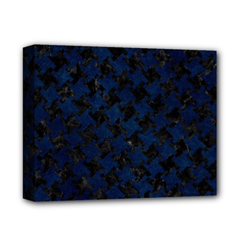 Houndstooth2 Black Marble & Blue Grunge Deluxe Canvas 14  X 11  (stretched) by trendistuff
