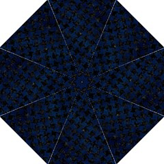 Houndstooth2 Black Marble & Blue Grunge Hook Handle Umbrella (medium) by trendistuff