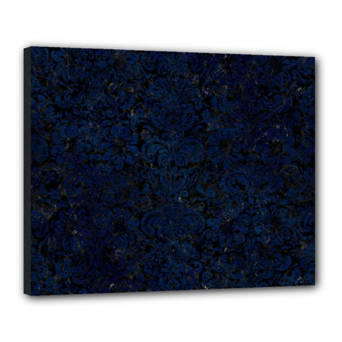 Damask2 Black Marble & Blue Grunge Canvas 20  X 16  (stretched) by trendistuff