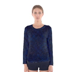 Damask1 Black Marble & Blue Grunge (r) Women s Long Sleeve Tee by trendistuff