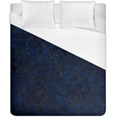 Damask1 Black Marble & Blue Grunge (r) Duvet Cover (california King Size) by trendistuff