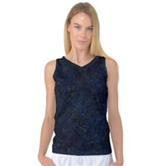 Damask1 Black Marble & Blue Grunge Women s Basketball Tank Top by trendistuff