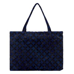 Circles3 Black Marble & Blue Grunge (r) Medium Tote Bag by trendistuff
