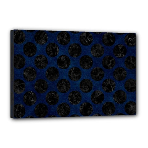 Circles2 Black Marble & Blue Grunge (r) Canvas 18  X 12  (stretched) by trendistuff
