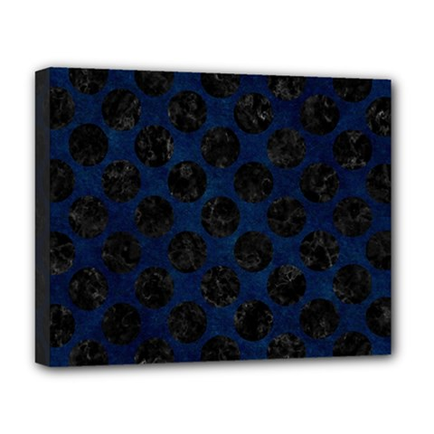 Circles2 Black Marble & Blue Grunge (r) Deluxe Canvas 20  X 16  (stretched) by trendistuff