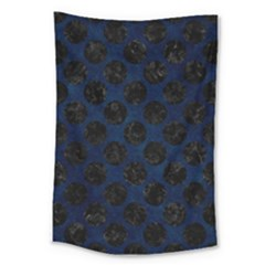 Circles2 Black Marble & Blue Grunge (r) Large Tapestry by trendistuff