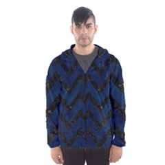 Chevron9 Black Marble & Blue Grunge (r) Hooded Wind Breaker (men) by trendistuff
