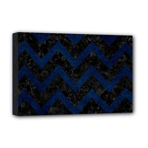 Chevron9 Black Marble & Blue Grunge Deluxe Canvas 18  X 12  (stretched) by trendistuff
