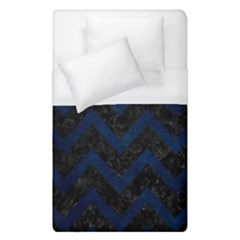 Chevron9 Black Marble & Blue Grunge Duvet Cover (single Size) by trendistuff