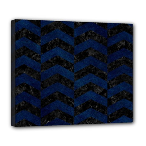 Chevron2 Black Marble & Blue Grunge Deluxe Canvas 24  X 20  (stretched) by trendistuff