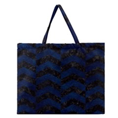 Chevron2 Black Marble & Blue Grunge Zipper Large Tote Bag by trendistuff