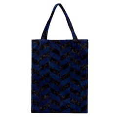 Chevron1 Black Marble & Blue Grunge Classic Tote Bag by trendistuff