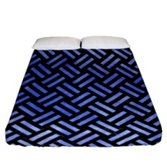 Woven2 Black Marble & Blue Watercolor Fitted Sheet (queen Size) by trendistuff
