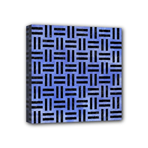 Woven1 Black Marble & Blue Watercolor (r) Mini Canvas 4  X 4  (stretched) by trendistuff