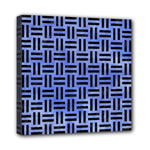 Woven1 Black Marble & Blue Watercolor (r) Mini Canvas 8  X 8  (stretched) by trendistuff