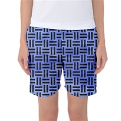 Woven1 Black Marble & Blue Watercolor (r) Women s Basketball Shorts by trendistuff