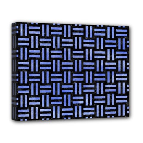 Woven1 Black Marble & Blue Watercolor Deluxe Canvas 20  X 16  (stretched) by trendistuff