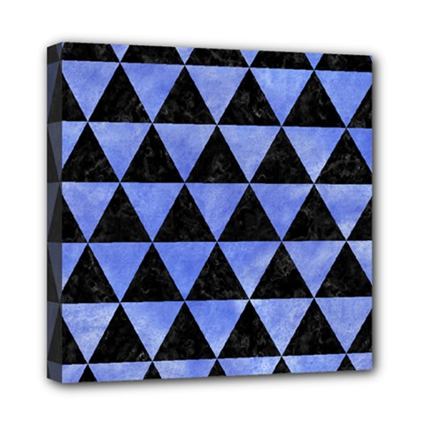 Triangle3 Black Marble & Blue Watercolor Mini Canvas 8  X 8  (stretched) by trendistuff
