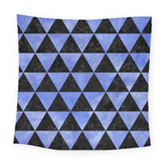 Triangle3 Black Marble & Blue Watercolor Square Tapestry (large)