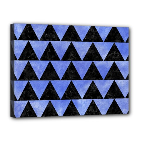 Triangle2 Black Marble & Blue Watercolor Canvas 16  X 12  (stretched) by trendistuff