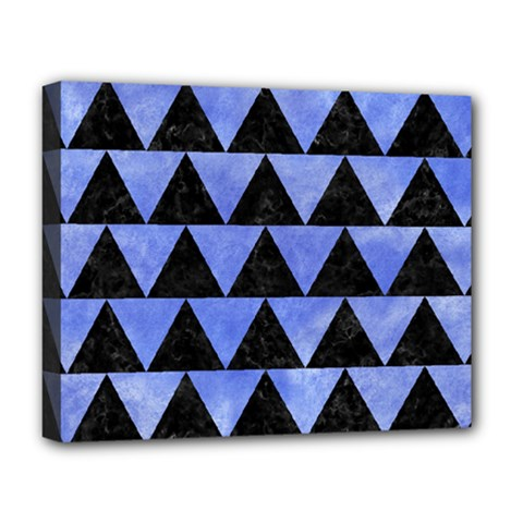 Triangle2 Black Marble & Blue Watercolor Deluxe Canvas 20  X 16  (stretched) by trendistuff