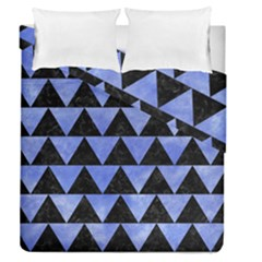 Triangle2 Black Marble & Blue Watercolor Duvet Cover Double Side (queen Size) by trendistuff
