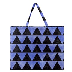 Triangle2 Black Marble & Blue Watercolor Zipper Large Tote Bag by trendistuff