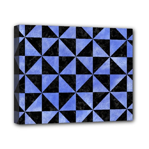 Triangle1 Black Marble & Blue Watercolor Canvas 10  X 8  (stretched) by trendistuff