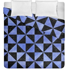 Triangle1 Black Marble & Blue Watercolor Duvet Cover Double Side (king Size) by trendistuff