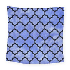 Tile1 Black Marble & Blue Watercolor (r) Square Tapestry (large) by trendistuff
