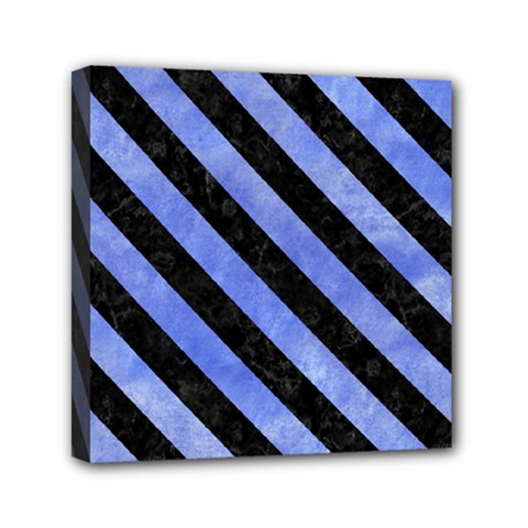 Stripes3 Black Marble & Blue Watercolor (r) Mini Canvas 6  X 6  (stretched) by trendistuff