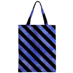 Stripes3 Black Marble & Blue Watercolor (r) Zipper Classic Tote Bag by trendistuff