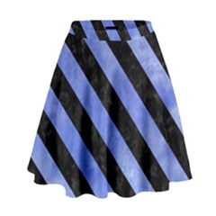 Stripes3 Black Marble & Blue Watercolor (r) High Waist Skirt by trendistuff
