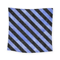 Stripes3 Black Marble & Blue Watercolor (r) Square Tapestry (small) by trendistuff