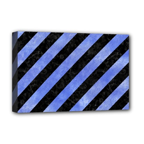 Stripes3 Black Marble & Blue Watercolor Deluxe Canvas 18  X 12  (stretched) by trendistuff