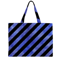 Stripes3 Black Marble & Blue Watercolor Zipper Mini Tote Bag by trendistuff