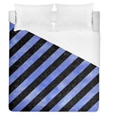 Stripes3 Black Marble & Blue Watercolor Duvet Cover (queen Size)