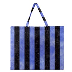 Stripes1 Black Marble & Blue Watercolor Zipper Large Tote Bag