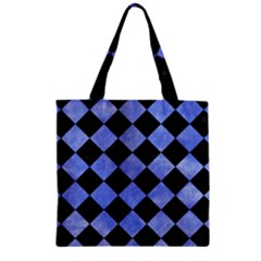 Square2 Black Marble & Blue Watercolor Zipper Grocery Tote Bag by trendistuff