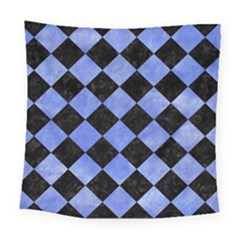 Square2 Black Marble & Blue Watercolor Square Tapestry (large) by trendistuff