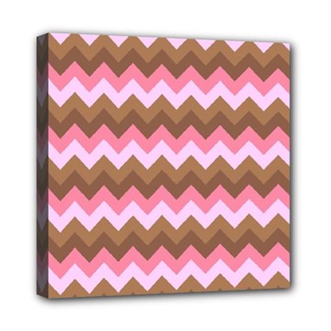 Shades Of Pink And Brown Retro Zigzag Chevron Pattern Mini Canvas 8  X 8