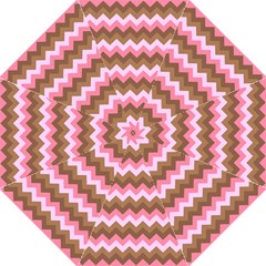 Shades Of Pink And Brown Retro Zigzag Chevron Pattern Folding Umbrellas