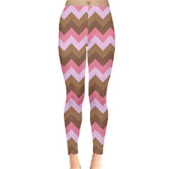 Shades Of Pink And Brown Retro Zigzag Chevron Pattern Leggings  by Nexatart