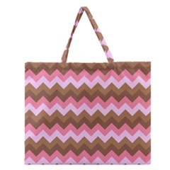Shades Of Pink And Brown Retro Zigzag Chevron Pattern Zipper Large Tote Bag