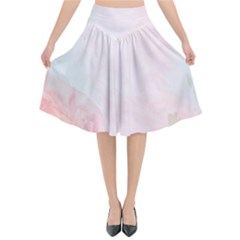 Watercolor Floral Flared Midi Skirt