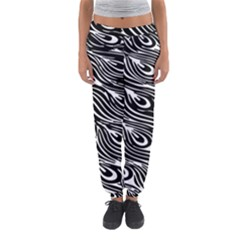 Digitally Created Peacock Feather Pattern In Black And White Women s Jogger Sweatpants