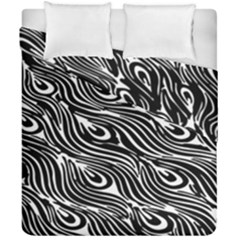 Digitally Created Peacock Feather Pattern In Black And White Duvet Cover Double Side (california King Size) by Nexatart