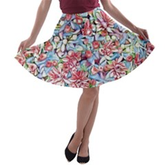 Lovely Floral 31f A Line Skater Skirt by MoreColorsinLife