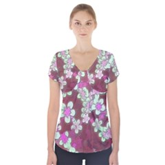 Lovely Floral 29 B Short Sleeve Front Detail Top by MoreColorsinLife