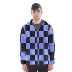 Square1 Black Marble & Blue Watercolor Hooded Wind Breaker (men) by trendistuff